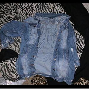 Fashion Nova Denim Distressed Jacket Plus 2X